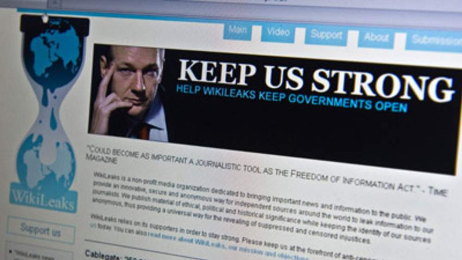 Picture of WikiLeaks founder Julian Assange on the website's homepage.