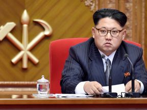 Kim Jong Un at the congress of North Korea's ruling Workers' Party in May
