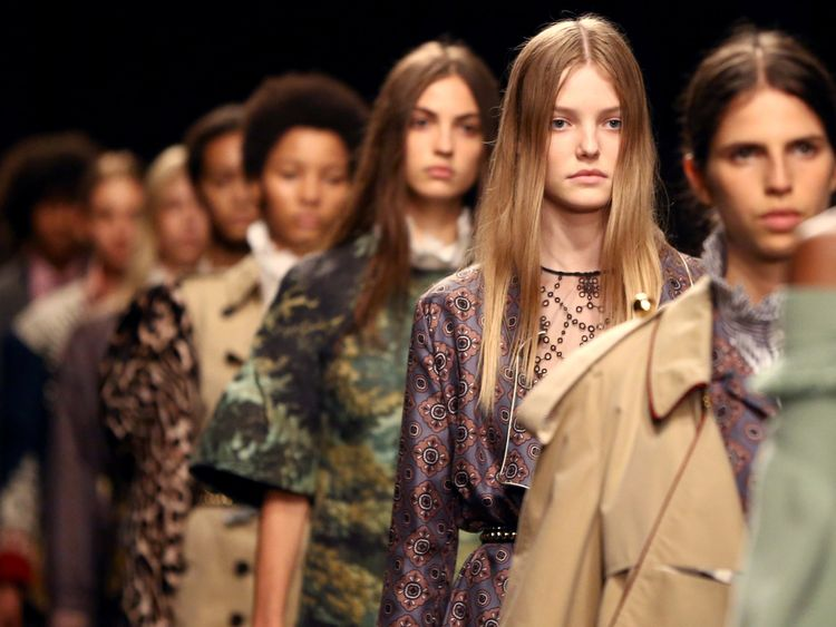 Models present creations at the Burberry catwalk show