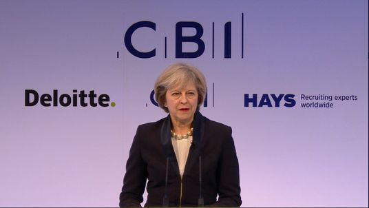 Theresa May speaking to the CBI for the first time as Prime Minister
