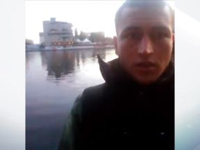 A grab from a Facebook video, believed to have been posted by Amri in September, showing him in Berlin