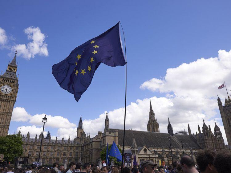 A European Union flag is flown in Parliament Square