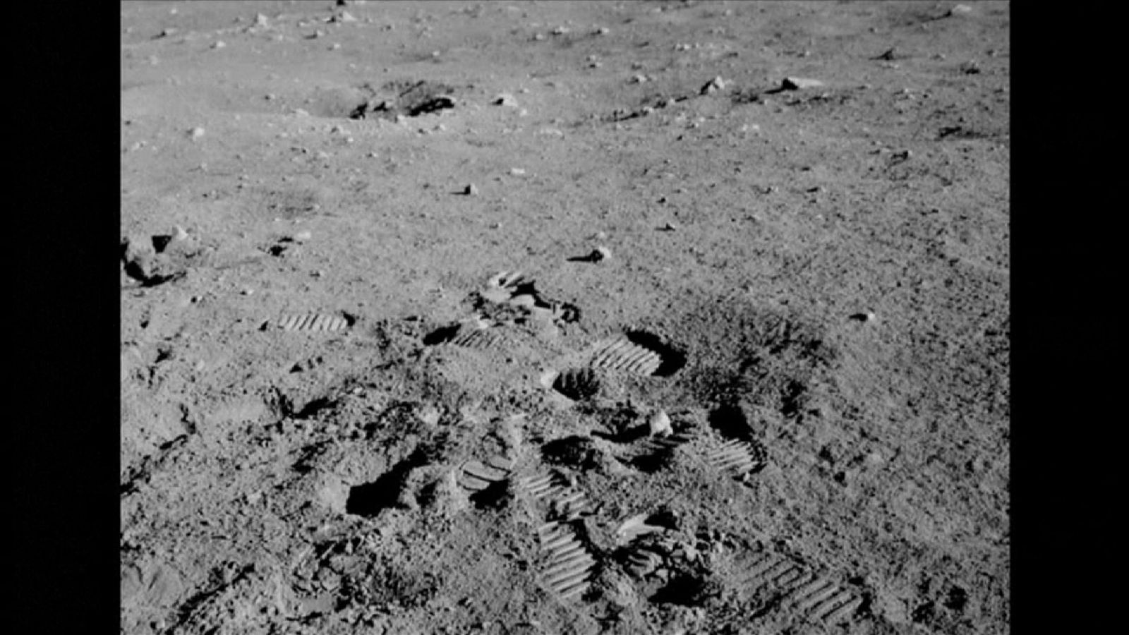 The footsteps of Eugene Cernan in the dust of the Moon's surface