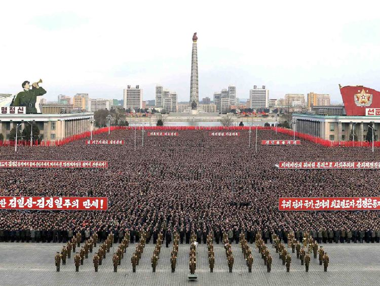 A mass rally taking place at Kim Il Sung Square in Pyongyang