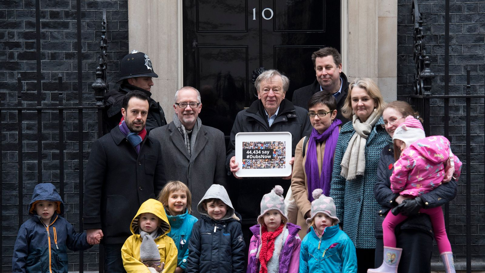 Lord Dubs and a group of child refugees delivered a petition to Downing St