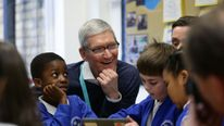 Tim Cook meets pupils using Apple technology in north London