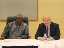 Adama Barrow and Boris Johnson