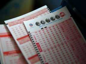 Blank Powerball slips are displayed at Kavanagh Liquors on January 12, 2015 in San Lorenzo, California