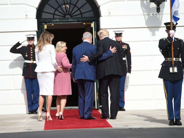 Donald Trump and Melania welcome Benjamin Netanyahu and his wife to the White House