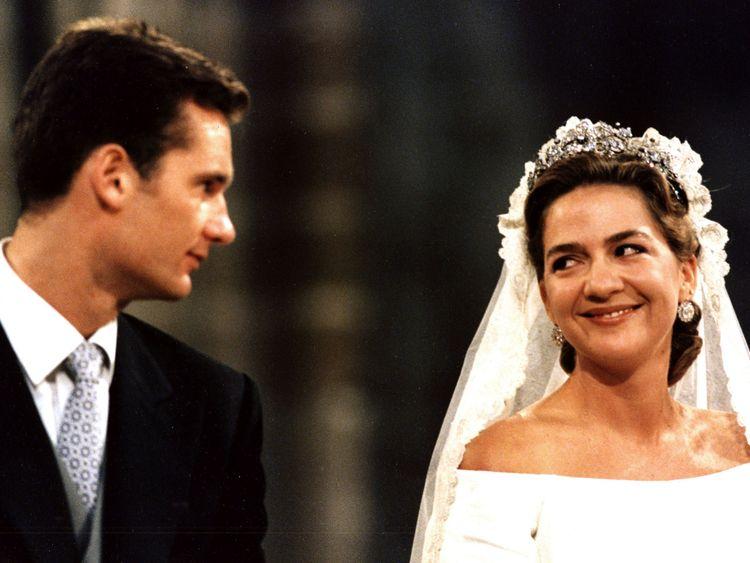 Princess Cristina at her wedding to Inaki Urdangarin in 1997