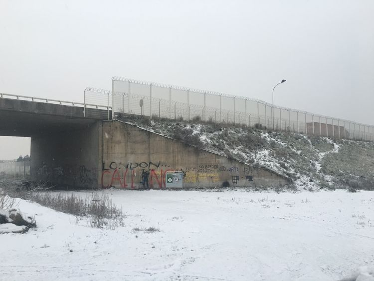 Refugees in Calais are currently having to cope with snow