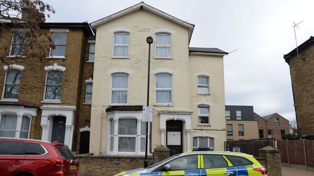 The scene in Wilberforce Road, near Finsbury Park, in north London after a one-year-old boy died and a girl of the same age was left in a critical condition in a flat