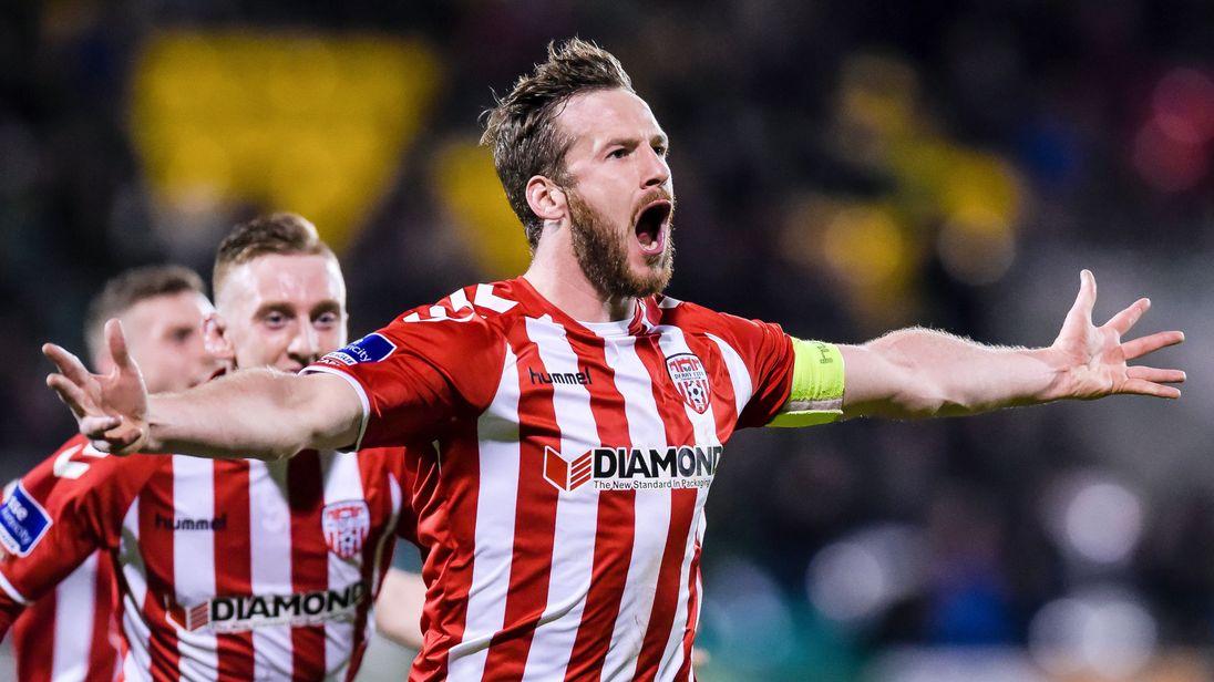 Derry City's captain Ryan McBride scoring on 10 March