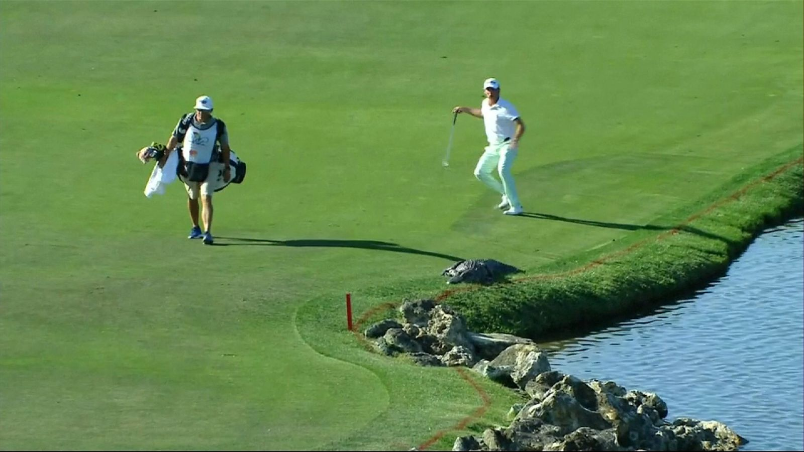 Smylie Kaufman and his caddie got a fright as they walked along the 6th fairway in Orlando