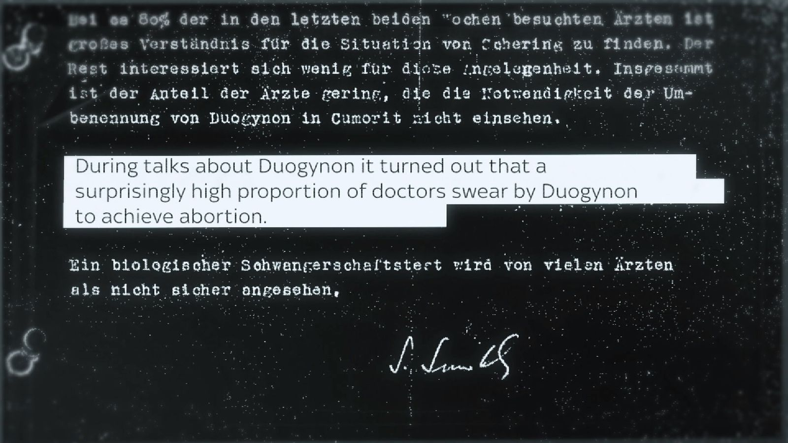 Translated documents show that Primodos was used by doctors in Germany for abortions