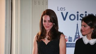 The Duchess of Cambridge (centre) attends a reception at the British Embassy in Paris