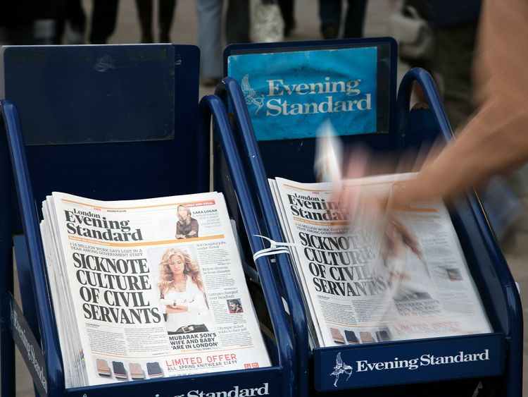 The London Evening Standard is a free newspaper published every weekday afternoon