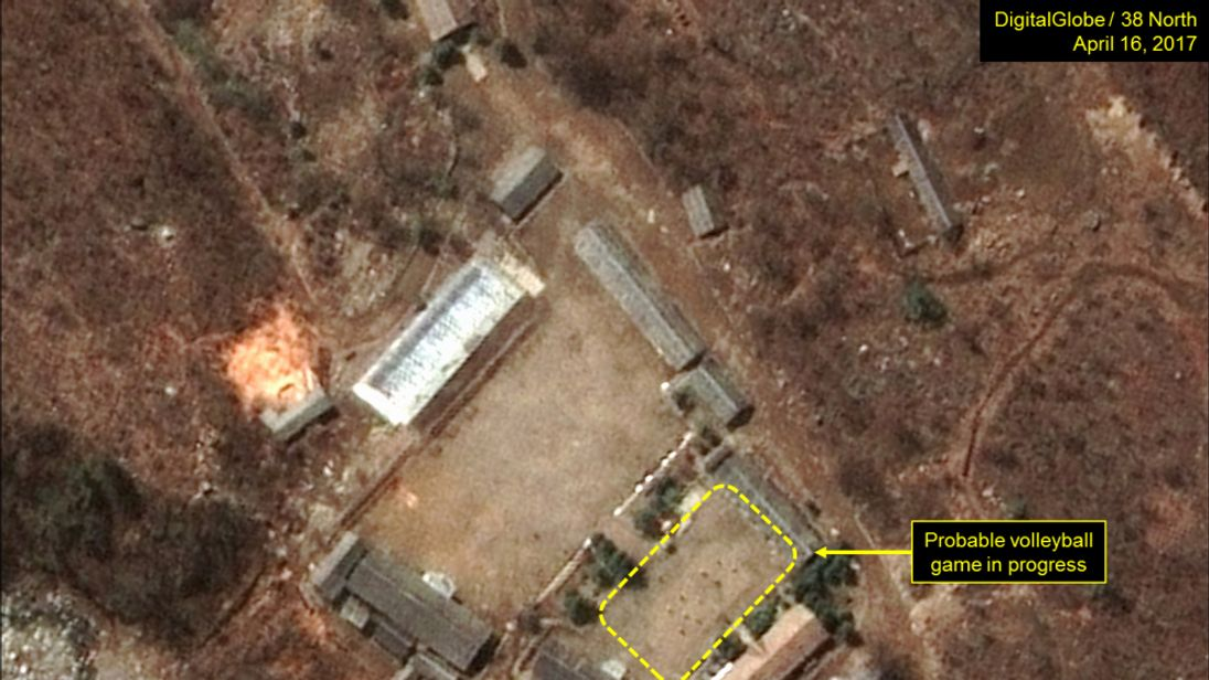 A probable volleyball game seen at the Main Administrative Area.	Pic: Digital Globe Inc / 38 North