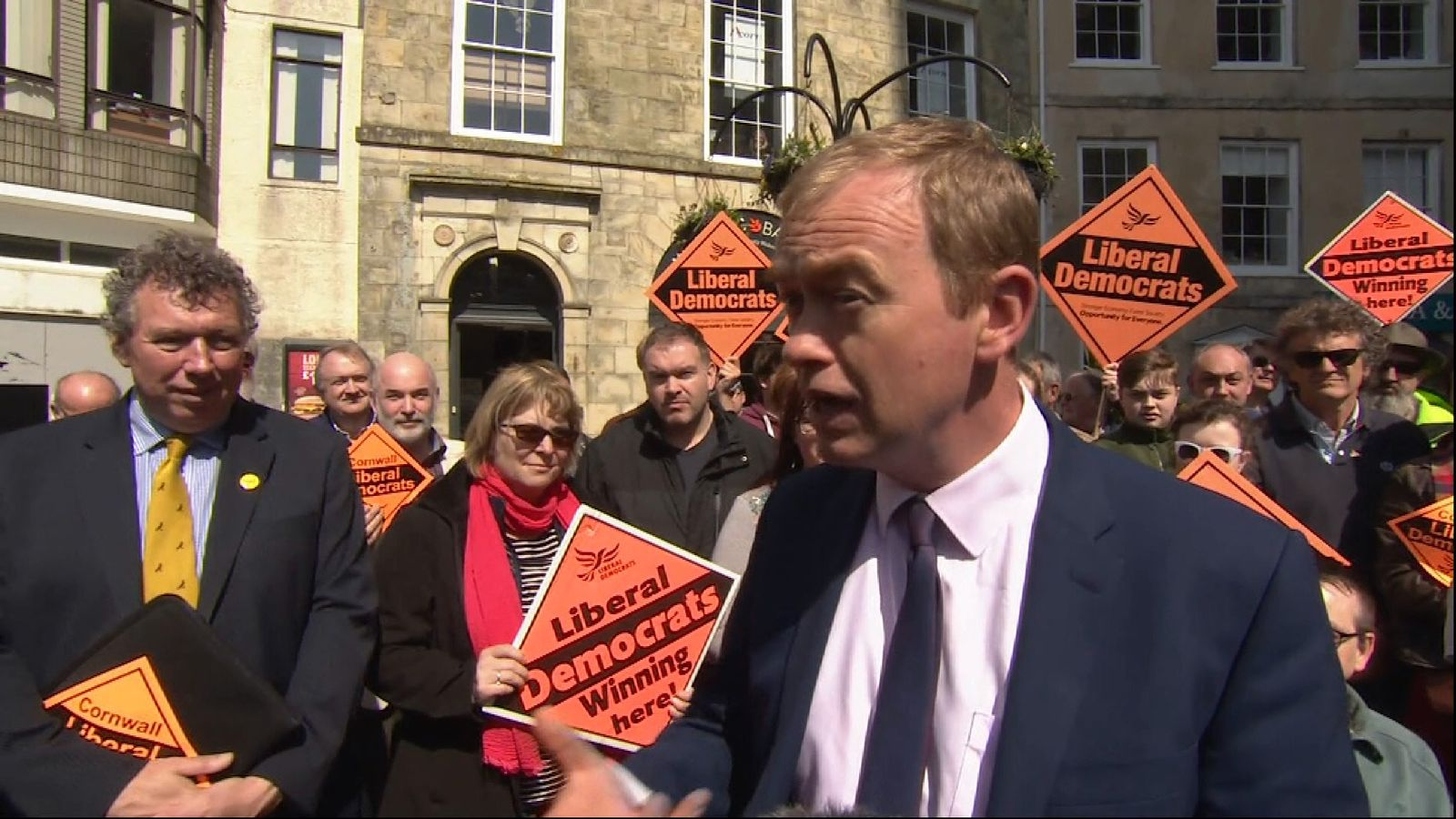 Lib Dem leader Tim Farron at campaign event.