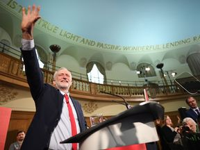 Labour leader Jeremy Corbyn speaks at an election campaign event in Church House, London
