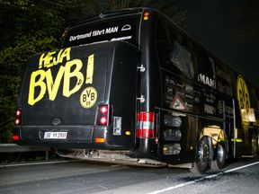 A view of bomb damage to the Dortmund team bus