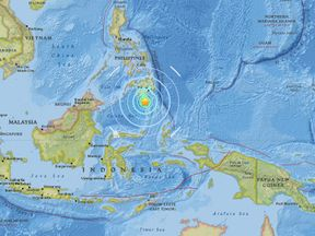 The quake in the Philippines. Pic: USGS