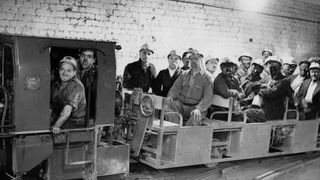 Miners coming off shift at Nook Colliery, Astley, Lancashire