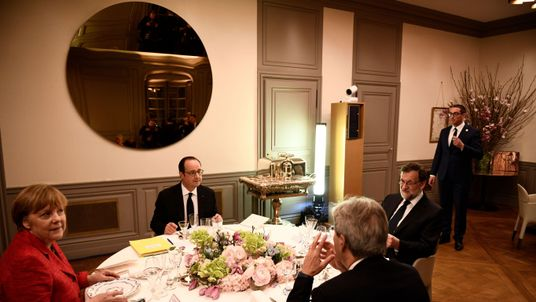 Angela Merkel, Francois Hollande, Spanish Prime Minister Mariano Rajoy and Italian premier Paolo Gentiloni picture at an EU summit last month