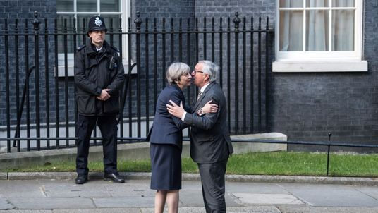 Theresa May, greets European Commission president, Jean-Claude Juncker
