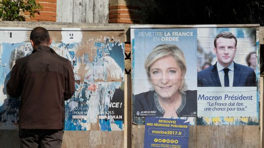 Mr Macron is projected to beat Ms Le Pen in the second round of the election