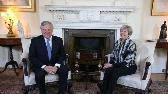 European Parliament President Antonio Tajani meets Theresa May at Downing Street