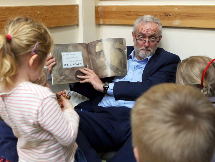 Jeremy Corbyn took some time out to read with children during a campaign stop in Bristol