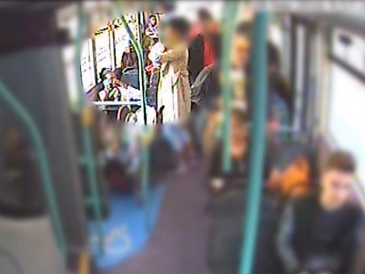 CCTV of a woman helping Rosalin Baker