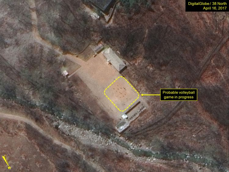 A probable volleyball game seen at the command centre support area. Pic: Digital Globe Inc / 38 North