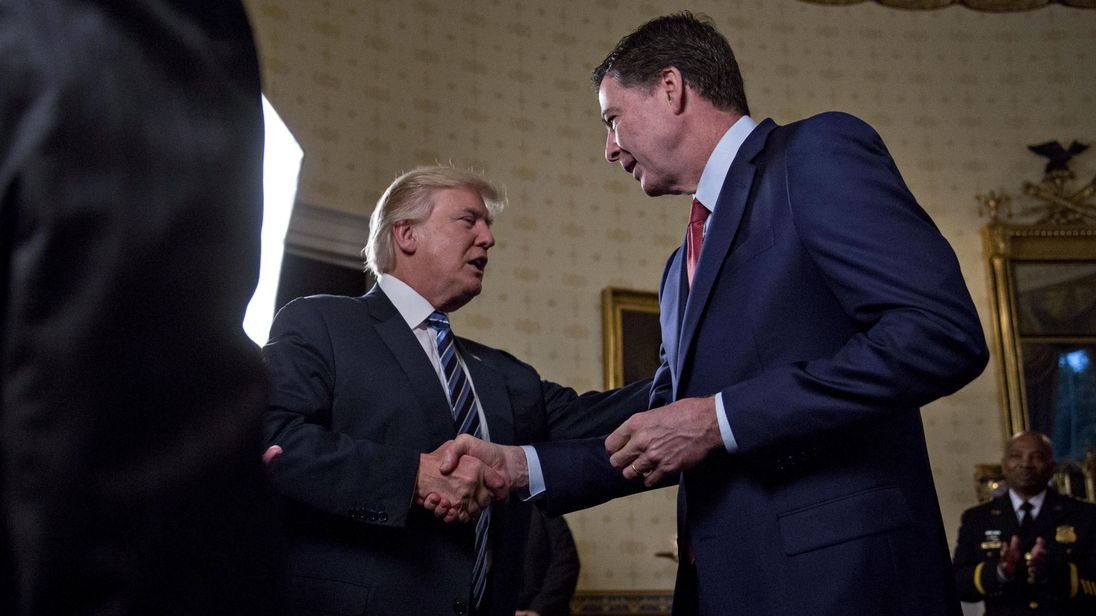 Donald Trump meets James Comey in the White House in January