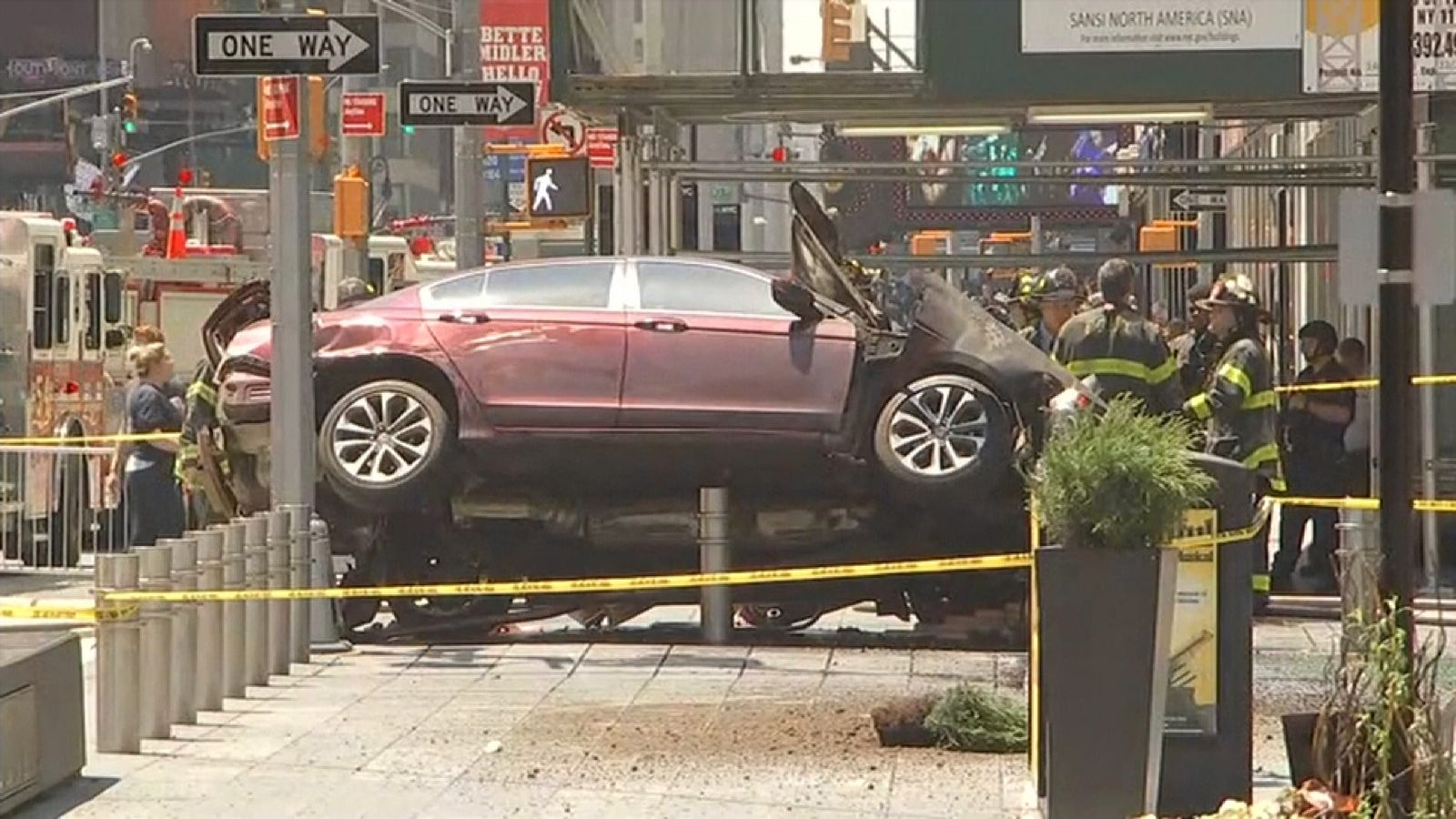 Car crashes after striking pedestrians in New York's Times Square