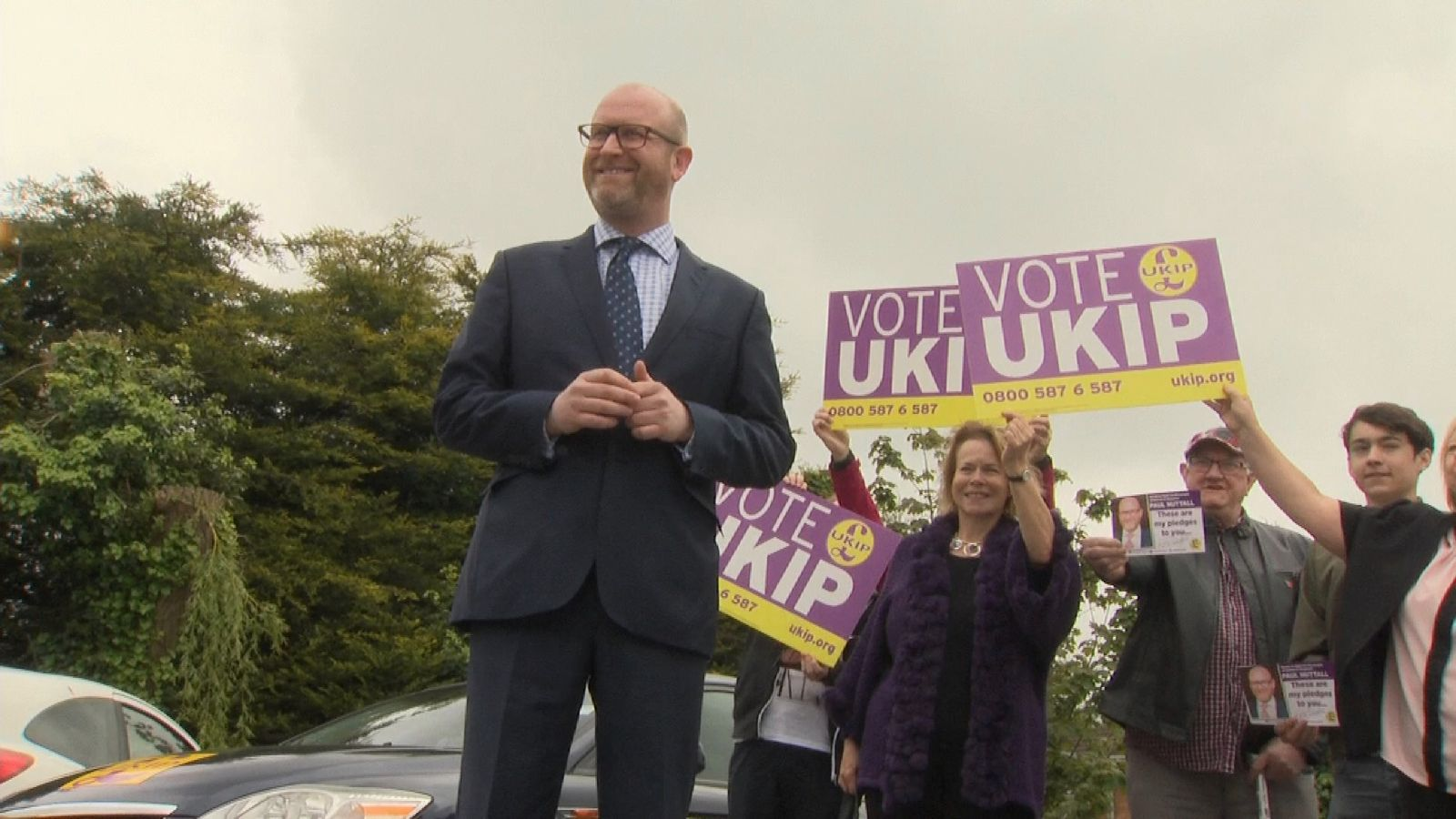 UKIP leader Paul Nuttall campaigning in Lincolnshire after his party was wiped out in the English local elections.