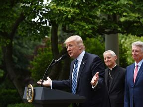 Donald Trump announces his first foreign trip in the Rose Garden of the White House