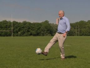 Jeremy Corbyn has a kickabout with youngsters at Hackney Marshes