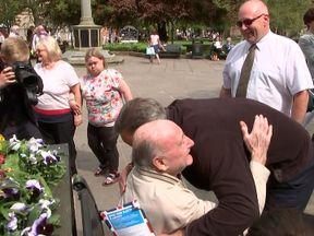 Mr Cameron shared a hug with one gentleman
