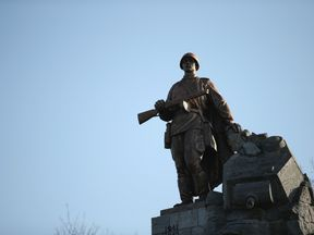 A bronze statue of a Red Army soldier in Seelow, Germany