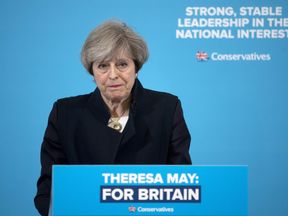 British Prime Minister Theresa May delivers a speech to an audience of supporters and members of the media at a campaign event in North Shields in north-east England, on May 12, 2017