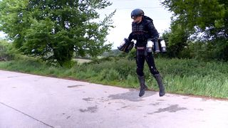 Inventor Richard Browning demonstrates his flying jet suit