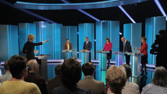 Party leaders at the debate on ITV
