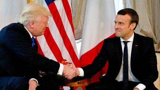 Mr Macron, no doubt aware of Mr Trump's robust handshaking technique, took control of the gesture