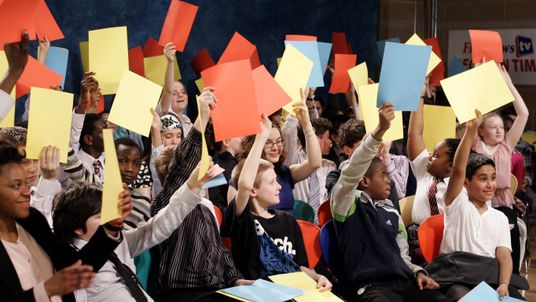 Children vote following a debate, attended by Children's Secretary Ed Balls, shadow children's secretary Michael Gove and Lib Dem spokesman on children David Laws, organised by children's newspaper First News