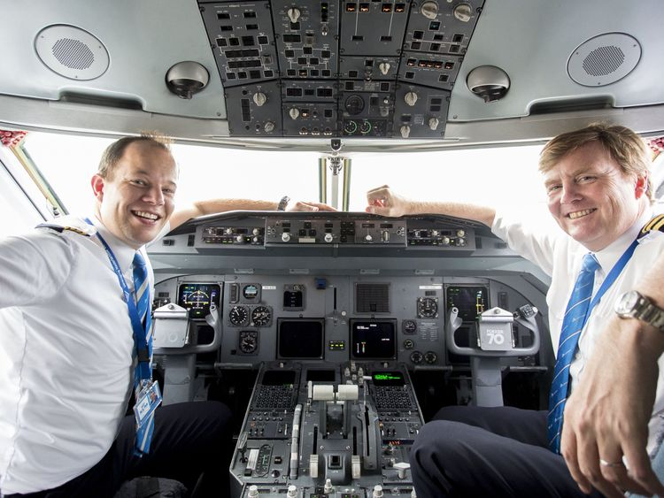 Dutch King Willem-Alexander sitting inside the cockpit of a KLM Cityhopper, next to pilot Maarten Putman, at the Schiphol Airport, near Amsterdam Dutch King Willem-Alexander, who works part-time as a commercial pilot, is to start conversion training to fly Boeing 737 passenger jets, a Dutch newspaper reported on May 17. The conversion training will mean the royal can continue to fly