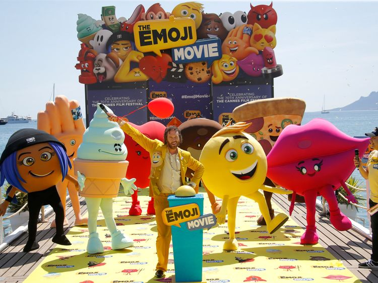 "T. J. Miller poses during a photocall for the film ""The Emoji Movie"""