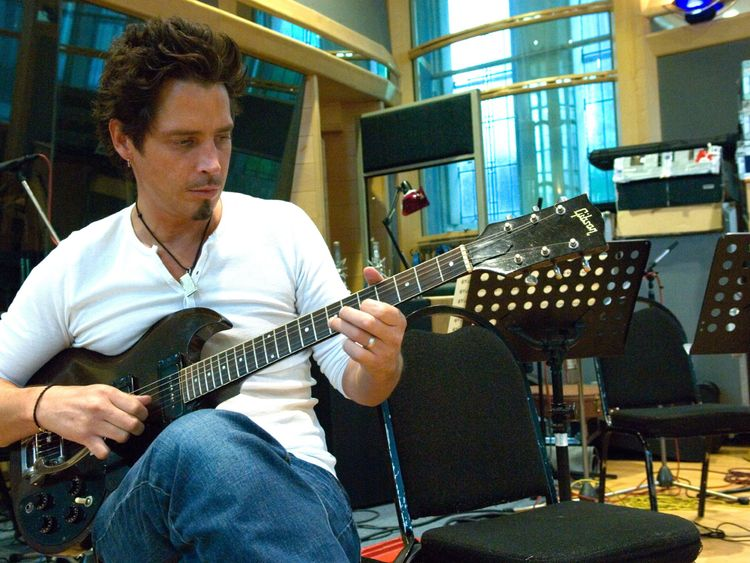 Chris Cornell on the set of Casino Royale in 2006