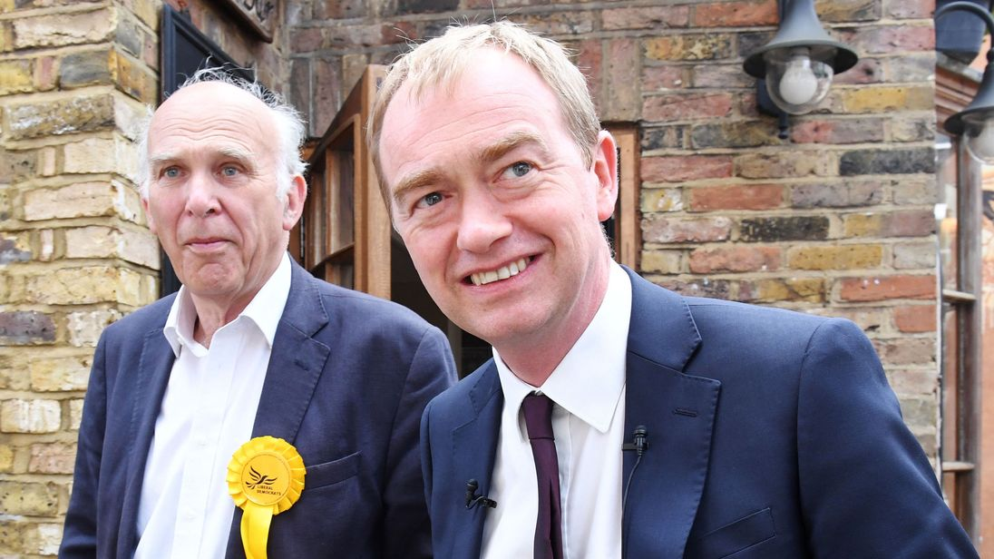 Tim Farron (right) and Vince Cable during a visit to Twickenham on the campaign trail